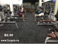 Thi công Sàn thể thao đa năng vân gỗ màu sáng và thảm phòng gym tại huyện Củ Chi