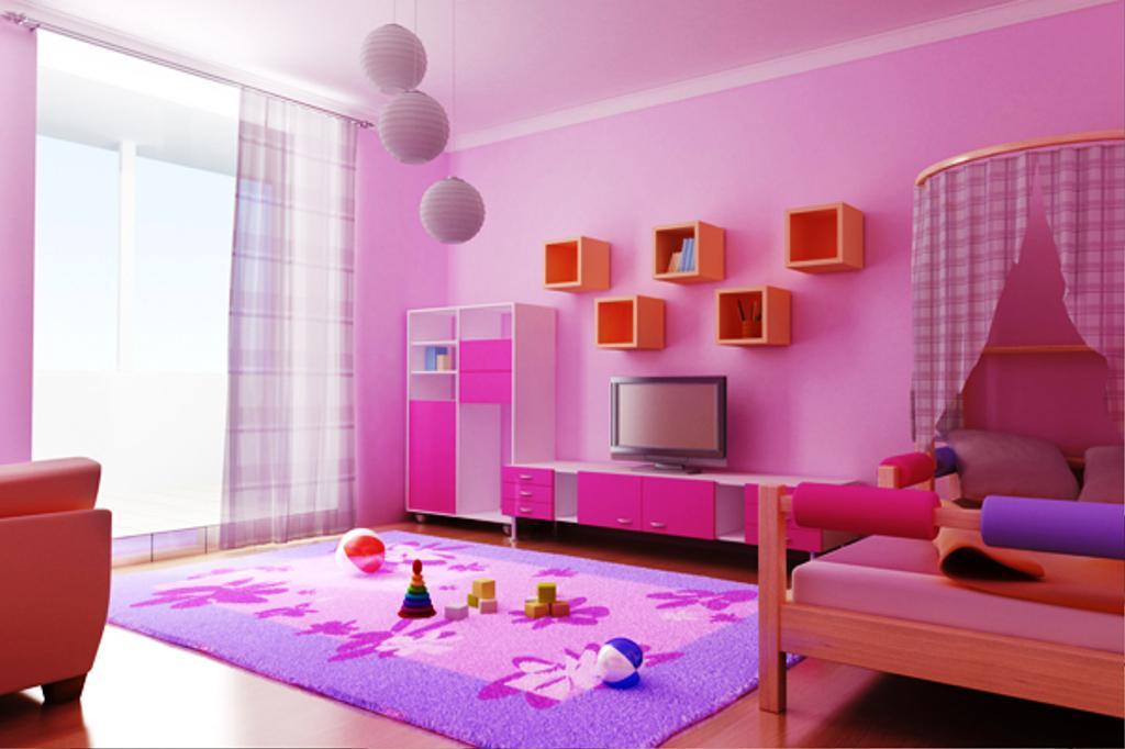 Dùng thảm trải sàn trang trí phòng ngủ đẹp cho bé gái