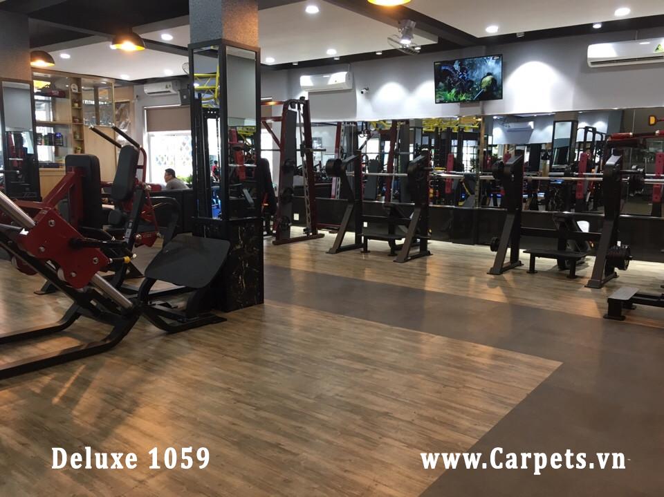Công trình thi công  sàn nhựa giả gỗ Mã Deluxe 1059 cho phòng gym Phú Nhuận